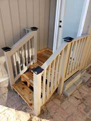 Install railing and steps